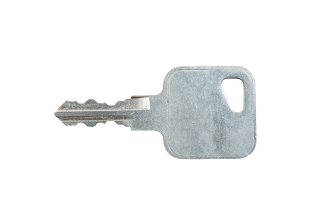 Silver key on a white background with clipping path