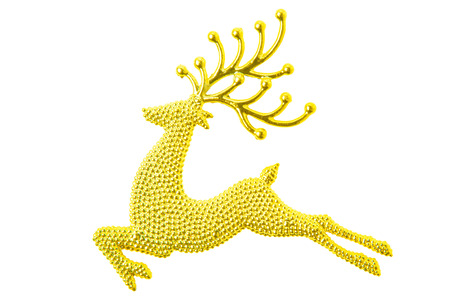 gold reindeer glitter christmas decoration isolated on white background with clipping path