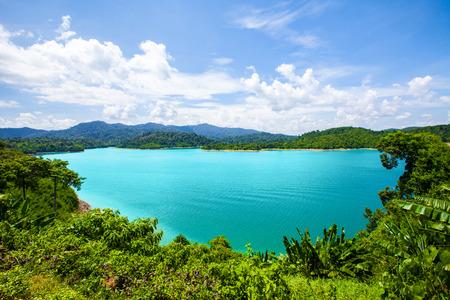 lake in deep mountain forest of Ratchaprapa Dam Chaew Lan Dam Surat Thani Thailand