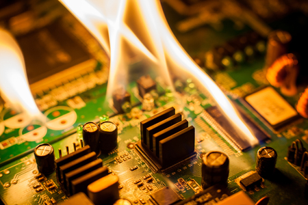 fire Burning circuit board with electronic