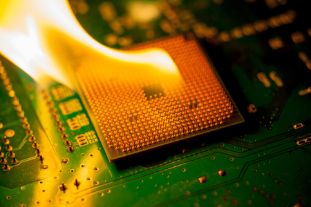 fire Burning cpu on circuit board with electronic   Stock fotó