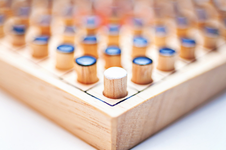 One white in black of Wooden Revessi game close up of Different wood stick , Business concept, Selective focus Stock Photo
