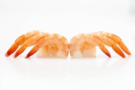 Pile of shrimps isolated on white background with copy space