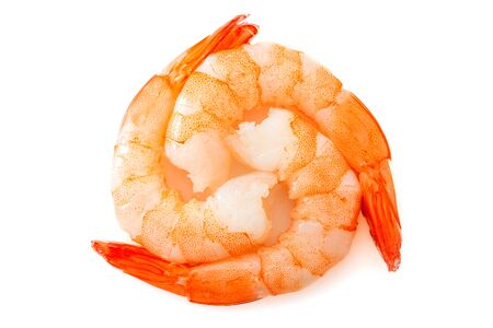 Circle of shrimps isolated on white background top view