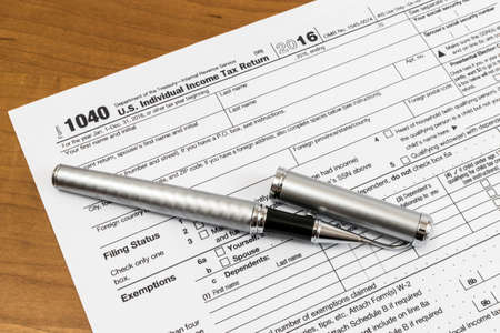 A shot of US Income Tax Return Form 1040.