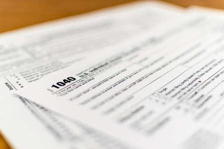 irs: Close up shot of United States Internal Revenue Service (IRS) tax return form.