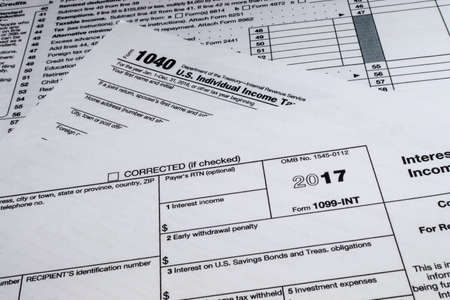 irs: A shot of IRS Form 1099-INT: Interest Income tax form.