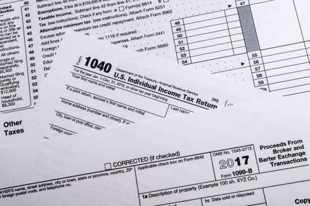 A shot of IRS Form 1099-B: Proceeds Frim Broker and Barter Exchange Transactions tax form.