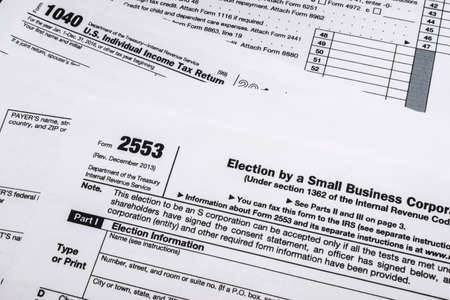 A shot of IRS Form 2553: Election by a Small Business Corporation tax form. Stock fotó
