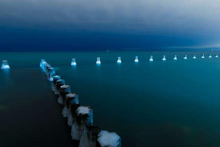 Shot of Lake Michigan at night. Stok Fotoğraf