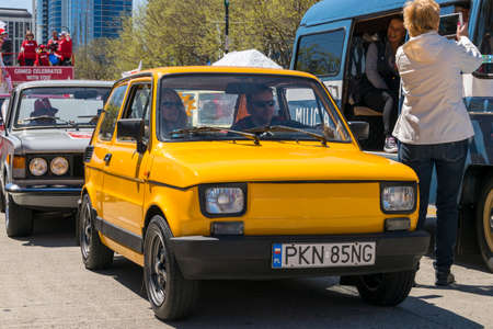 Chicago, IL, United States - May 06, 2017: Polish (Polski) Fiat 126p during the Polish Consitution Day Parade in Chicago.