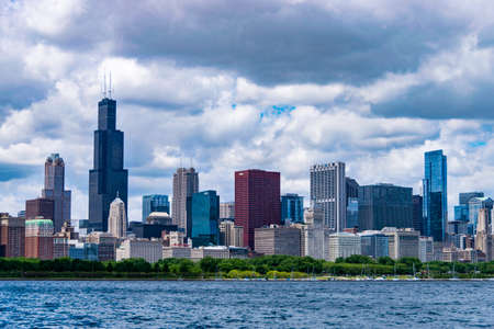sears: Chicago, IL, United States: June 18, 2017 - Shot of Chicagos Skyline taken during daytime.
