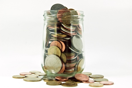 Coins in glass jar.