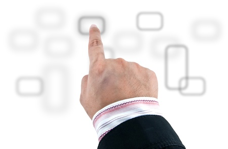 typology: Hand pushing a button on a touch screen interface. Stock Photo