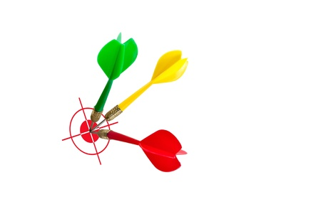 Several darts hit the target. The image for business idea. photo