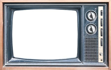 Antiguo grungy Vintage TV con una pantalla blanca. Foto de archivo