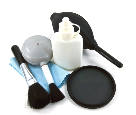 Digital camera lens cleaning and lens protection. Stock Photo