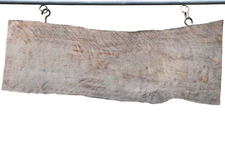 A cégtábla egy régi fából. Objektum felett fehér. Stock fotó
