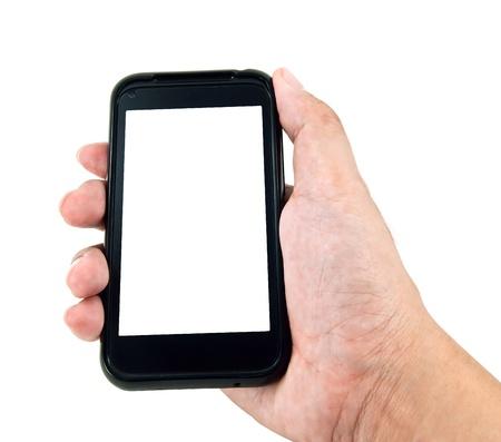 cellular telephone: Hand holding smart phone Stock Photo