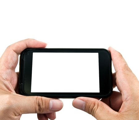 Hand holding smart phone Stock Photo