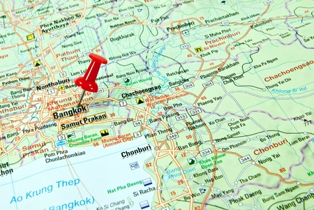 map pin: Thumbtack in a map focus on Bangkok. Stock Photo