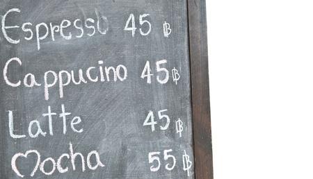 Coffee menu on blackboard photo