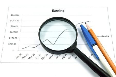 magnifying glass over diagram. The image idea for business concept.  Stock Photo