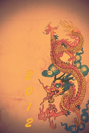 Colorful Chinese dragon with new year photo
