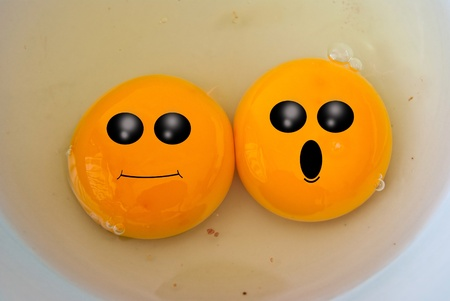 yolk: Funny face on yolk