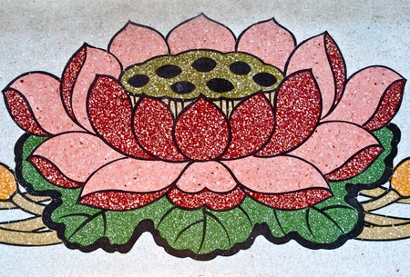 Lotus flower painted on the wall