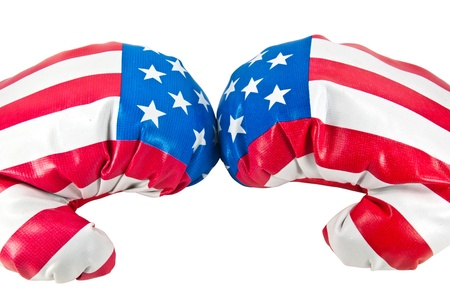 America flag on boxing gloves  photo