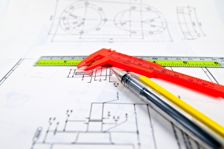 Műszaki rajz és eszközök Stock fotó