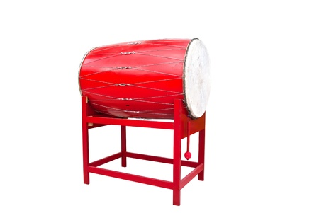 chinese drum: Red Chinese temple drum
