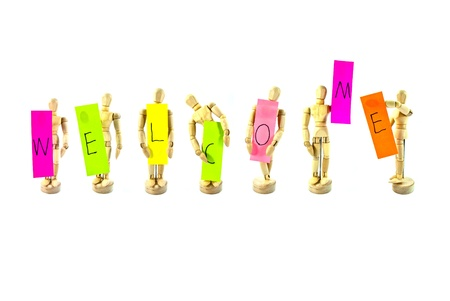 Wooden action figure and colorful words series photo