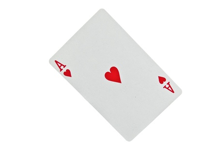 Ace of hearts isolated on white background