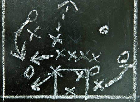 Football strategy on a chalkboard photo