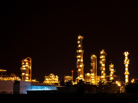 Petrochemical oil refinery plant at night Stock Photo - 12342966