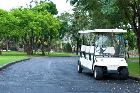 Golf cart waiting for passengers photo