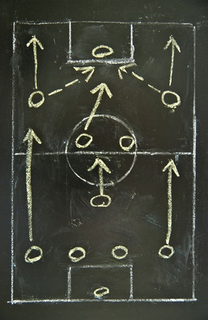 Football (soccer) tactics drawing on chalkboard, 4-5-1 formation. Stock Photo
