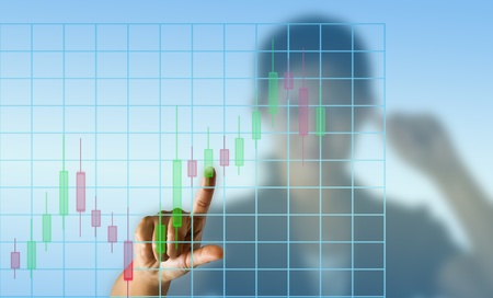 Business woman with candlestick chart Stock Photo - 12672791