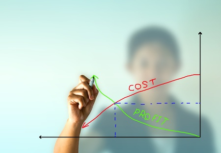 Business woman hand drawing graph of profit growth vs cost reduction  Stock Photo