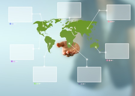 Map of the world above business woman hand with white virtual screens  Stock Photo - 13034458