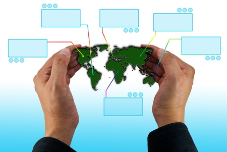 Map of the world in hands with virtual blank space Stock Photo - 13034496