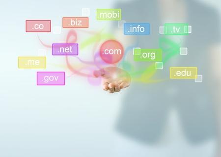 Domain név alatt üzletasszony kezét