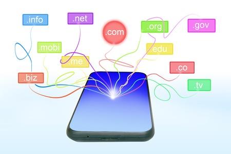 Domain name over smart phone Stock Photo - 13085766