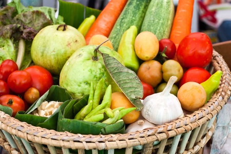 Fresh vegetables, fruits and other foodstuffs.  Stock Photo - 13085844