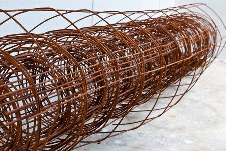 A roll of rusty rebar grids photo