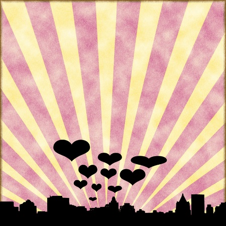 ray tracing: City of love silhouette with retro background Stock Photo