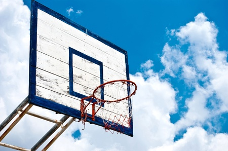 Basketball hoop with blue sky photo
