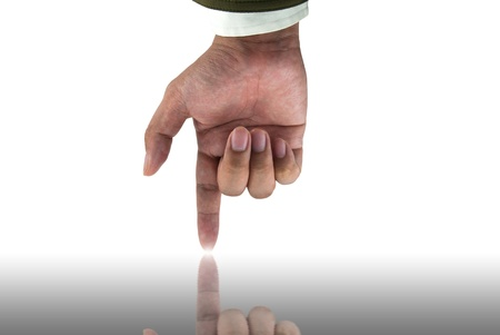 Businessman hand pointing down with reflection photo